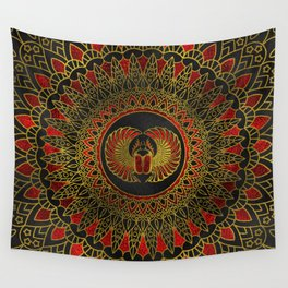 Egyptian Scarab Beetle - Gold and red  metallic Wall Tapestry