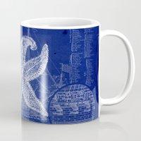 blueprint Mugs featuring Vintage Starfish Blueprint by Fallen Apple Designs