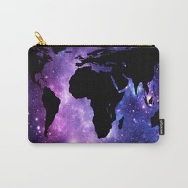 World Map : Purple Blue Galaxy Carry-All Pouch