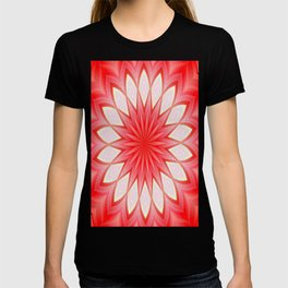 Star White And Red Kaleidoscope Floral Mandala T-shirt