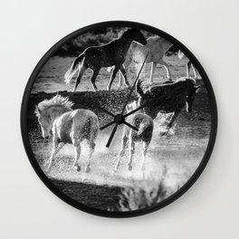 Hijinks at the Waterhole bw Wall Clock