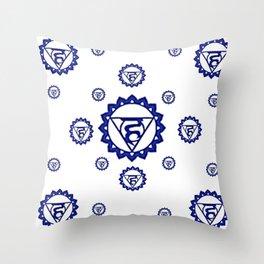 """BLUE SANSKRIT CHAKRAS PSYCHIC WHEEL """" SPEAK"""" Throw Pillow"""