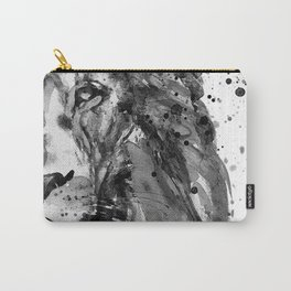 Black And White Half Faced Lion Carry-All Pouch