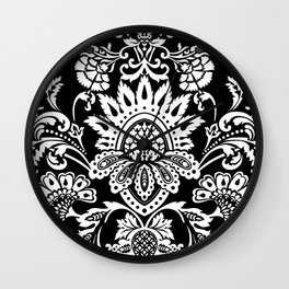 damask in white and black Wall Clock