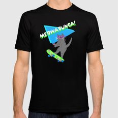 Meowabunga  Black Mens Fitted Tee LARGE