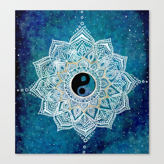 Yin and Yang Galaxy Mandala Canvas Print