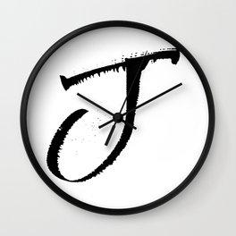 Letter J Ink Monogram Wall Clock