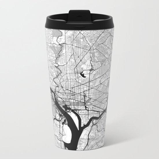Washington Map Gray Metal Travel Mug
