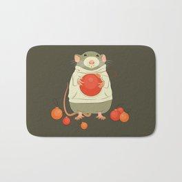 Mouse with a Christmas ball II Bath Mat