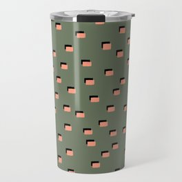 pixel khaki pink Travel Mug