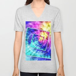 Spinning Tie Dye Abstract Unisex V-Neck