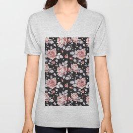 Vintage Pink Rose Flowers Unisex V-Neck