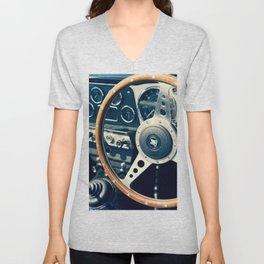 Old Triumph Wheel / Classic Cars Photography Unisex V-Neck