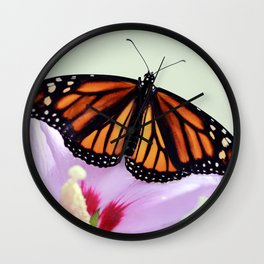 Monarch on Rose of Sharon Wall Clock