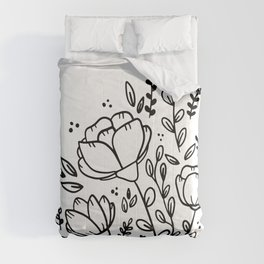 Black and white floral drawing Comforters