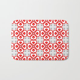 Red hearts pattern Bath Mat