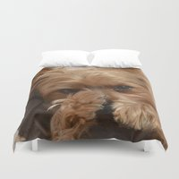yorkie Duvet Covers featuring Put Em' Up - The Yorkie Dog by ATXperspective