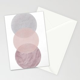 Gray and Pink Circles Stationery Cards