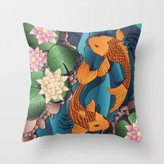 Carp Koi Fish in pond 002 Throw Pillow