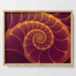 Infinity | Gold Burgundy Sea Shell Serving Tray