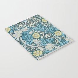 William Morris,art nouveau pattern, seaweed,blue,florals,vintage Notebook