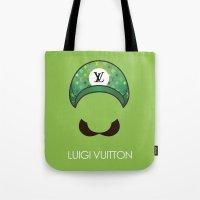 luigi Tote Bags featuring Luigi Vuitton by Sam Pea
