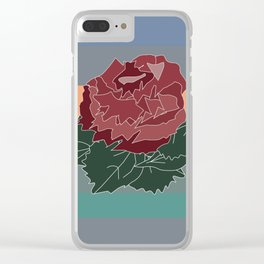 sunset and a rose Clear iPhone Case