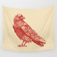 raven Wall Tapestries featuring Red Raven  by Terry Fan
