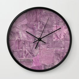 Pastel Pink Jeans Pattern Patchwork Design Wall Clock