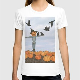 scarecrow and crows in the pumpkin patch T-shirt