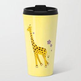 Yellow Funny Roller Skating Giraffe Travel Mug