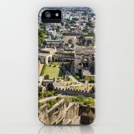 Looking down at the Ruins of Golconda Fort, into the Old Area of the City in Hyderabad, India iPhone Case