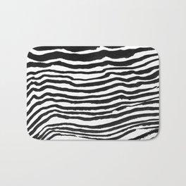 Black Brush Strokes Bath Mat