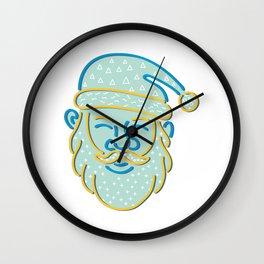 Santa Claus Head Memphis Style Wall Clock