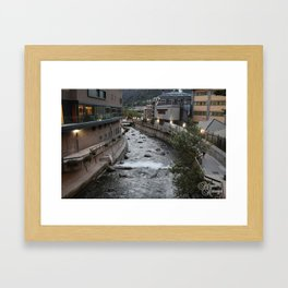River and town Framed Art Print