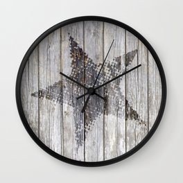 Grunge Star on old weathered grey wood Wall Clock