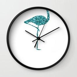 Colorful Flamingos Blue Flamingo Wall Clock