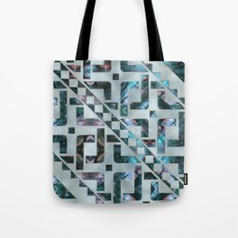 Abstract Geometric Labradorite on Mother of pearl Tote Bag