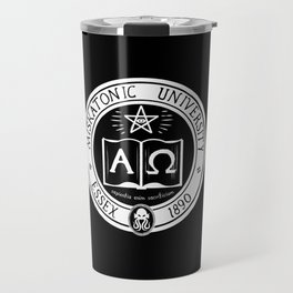 Miskatonic University in Black Travel Mug