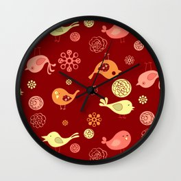 Birds on red Wall Clock