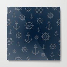 Anchor Wheel Maritim nautical seamless pattern Metal Print