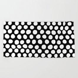 White Organic Dots on Black Beach Towel