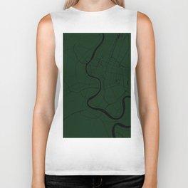 Bangkok Thailand Minimal Street Map - Forest Green and Black Biker Tank