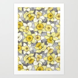 Daffodil Daze - yellow & grey daffodil illustration pattern Art Print