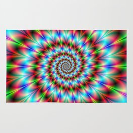 Spiral Rosette in Blue Green and Red Rug