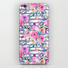 Pink mauve lilac hand painted watercolor roses floral stripes iPhone Skin