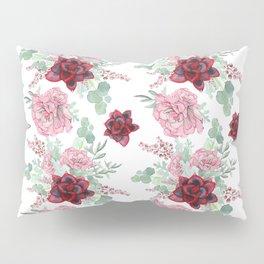 Succulents Pastel Red Pink Mint Green Pattern 2 Pillow Sham