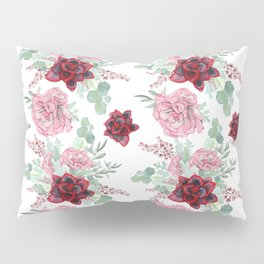 Succulents Pastel Red Pink Mint Green Pattern 2 Pillow Sham