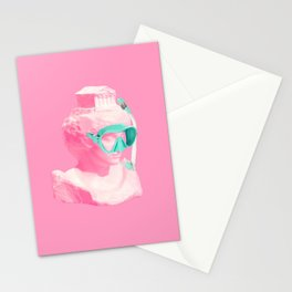 Athena statue ready for a snorkel Stationery Cards