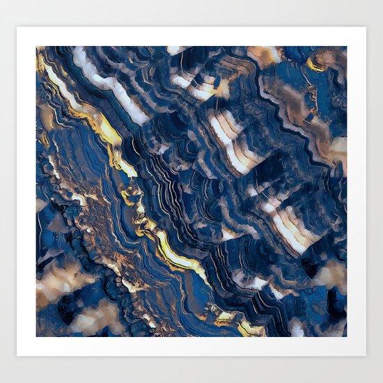 Blue marble with Golden streaks Art Print